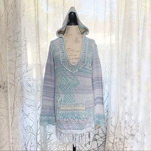Free people Aztec sarape blue knit hoodie sweater